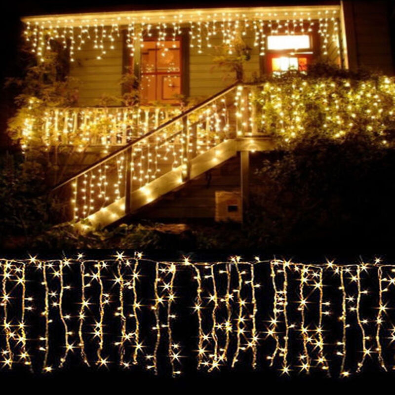 10-100FT Christmas LED Fairy Icicle Curtain Lights Party Indoor Outdoor Decor US • 9.49$
