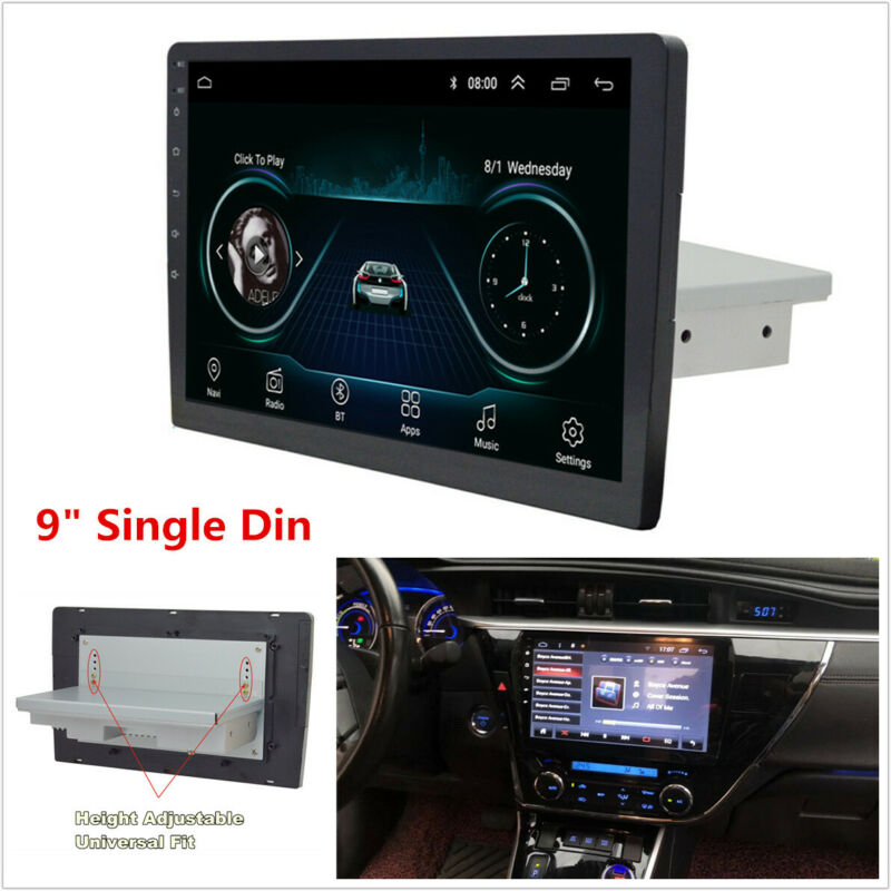 9  Single Din Android 8.1 Car Stereo Radio GPS Navigation WiFi Quad-Core 1G+16G • 90.01$