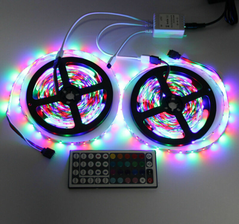 10M 3528 SMD RGB 600 LED Lighting Strips 44 Key Remote Controller For TV, Room • 12.50$