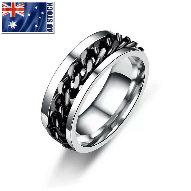 AU8.95 • Buy Titanium Stainless Steel 8mm Spinner Ring Curb Chain Men Women Band Size 6-15
