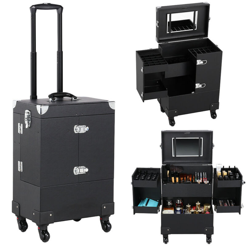 $66.99 • Buy Professional Makeup Train Case Rolling Cosmetic Travel Trolley With Mirror Black