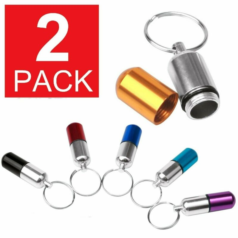 $3.95 • Buy 2-Pack Waterproof Mini Pill Box Case Bottle Holder Container Keychain Keyring US