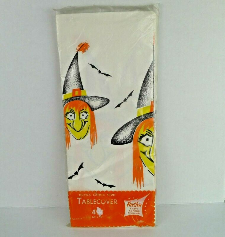 $ CDN20 • Buy Vintage Halloween Paper Table Cover Ugly Witch And Bats Festive 60 X 96 Inch NOS