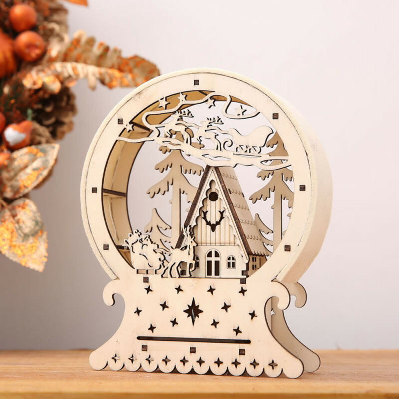 $9.99 • Buy Christmas Light Up Wooden House Reindeer Tree LED Indoor Ornament Decoration US