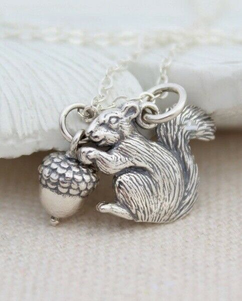 Squirrel Necklace, Antique Silver Squirrel Charm, Squirrel With Acorn Necklace • 0.99$