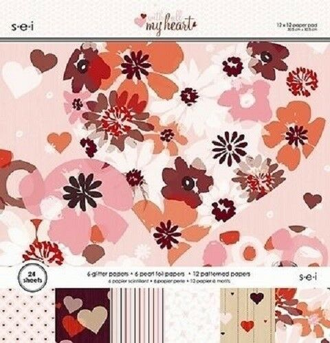 $25.36 • Buy S.e.i WITH ALL MY HEART Paper Pad / Stack 12 X 12  24 Sheets CLEARANCE PRICE