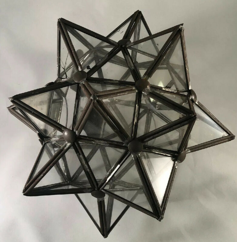 $99.99 • Buy Vtg Rare Glass Moroccan 3D STAR Tea Candle Holder Light Indoor Outdoor Holiday