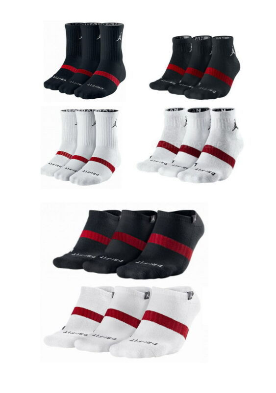 c22052b2b1a NIKE Mens Air Jordan DRI-FIT CREW Socks WHITE BLACK 3 Pairs One Pack •