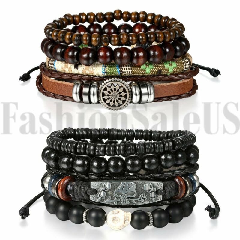 $10.99 • Buy 2 Sets(8pcs) Men Women Braided Leather Wristband Bracelet Set Beaded Cuff Bangle