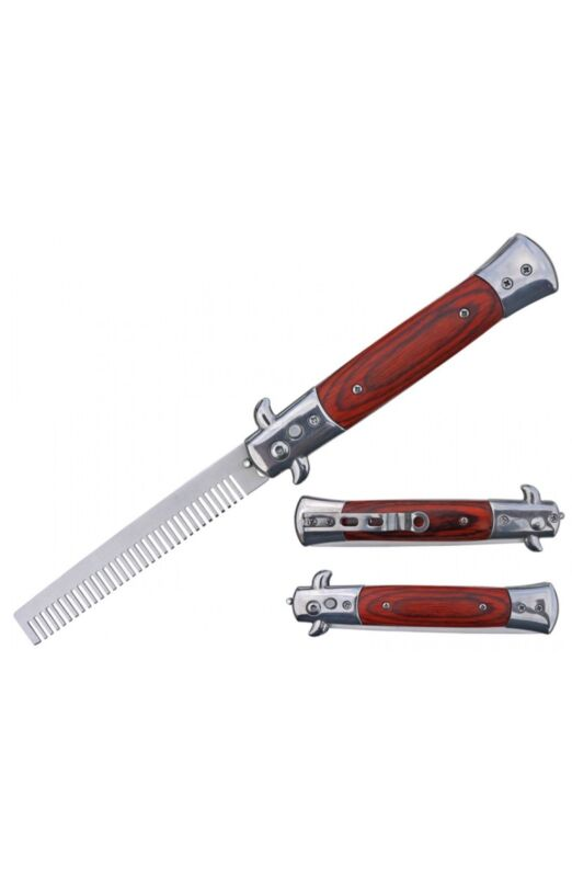 $ CDN16.63 • Buy Automatic Push Button Folding Comb Switchblade Knife Faux Wood Handle