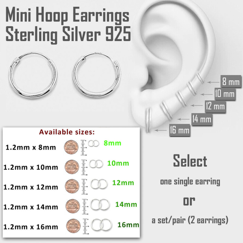 9e139eb8d Mini Hoop Earring Sterling Silver 925 8mm 10mm 12mm 14mm 16mm Small  Single/Pair •