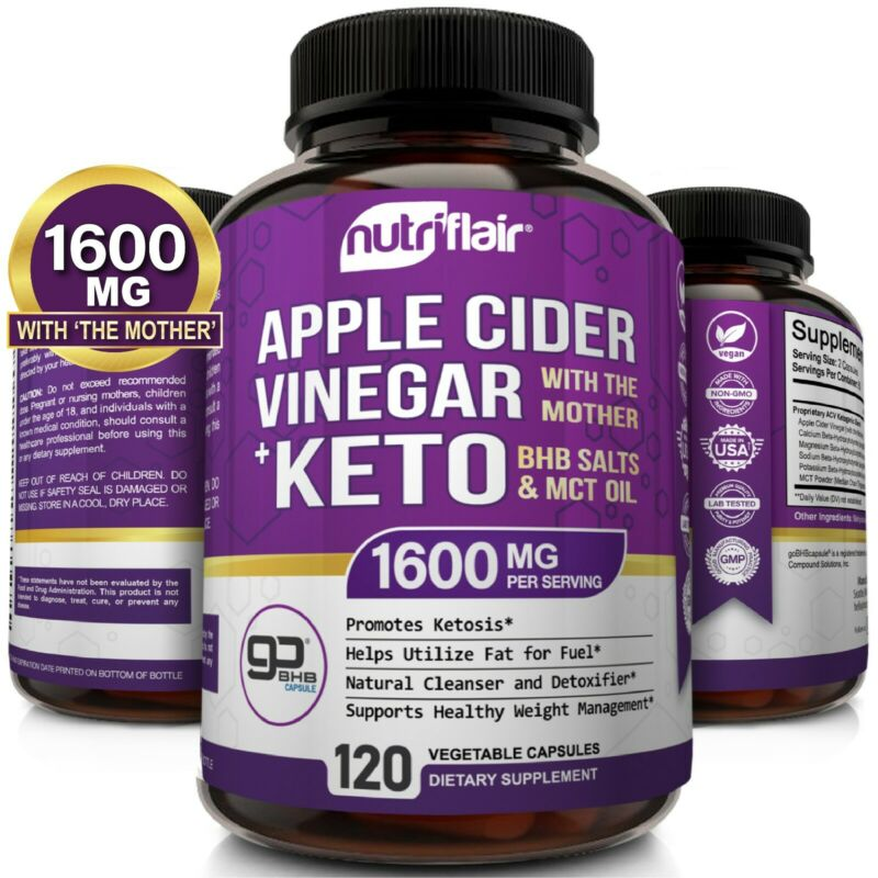 $16.99 • Buy ☀ Raw Apple Cider Vinegar Capsules With The Mother + Keto Diet Pills BHB Salts