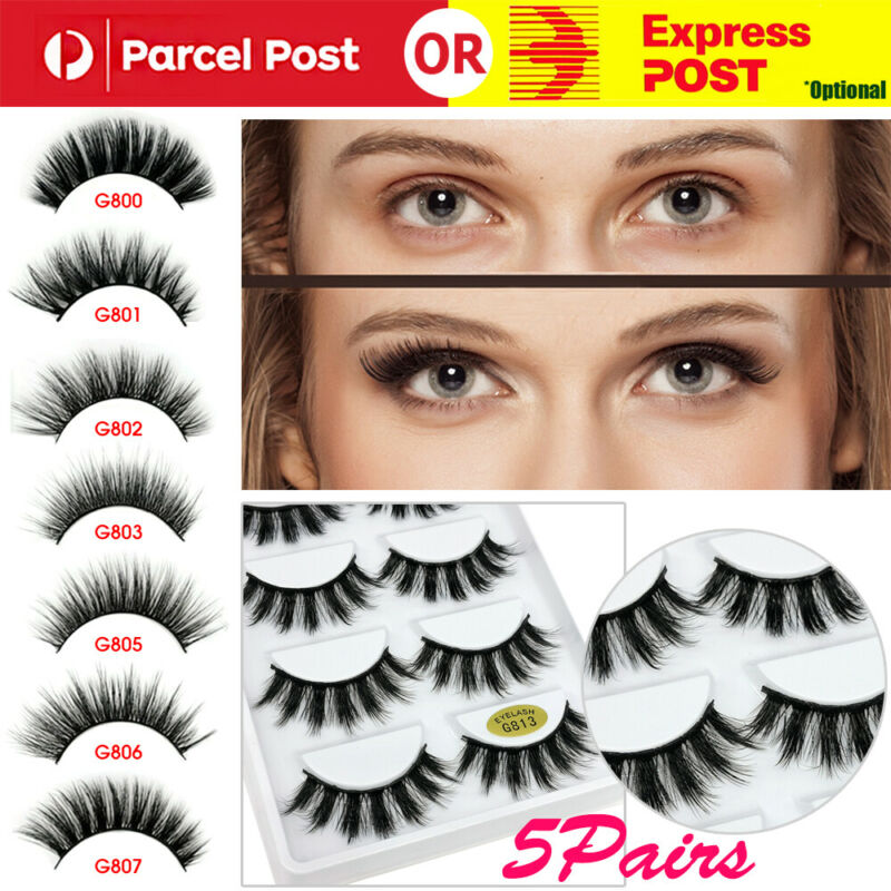 AU6.29 • Buy 3D 5 Pairs Mink Natural Thick False Fake Eyelashes Eye Lashes Makeup Extension