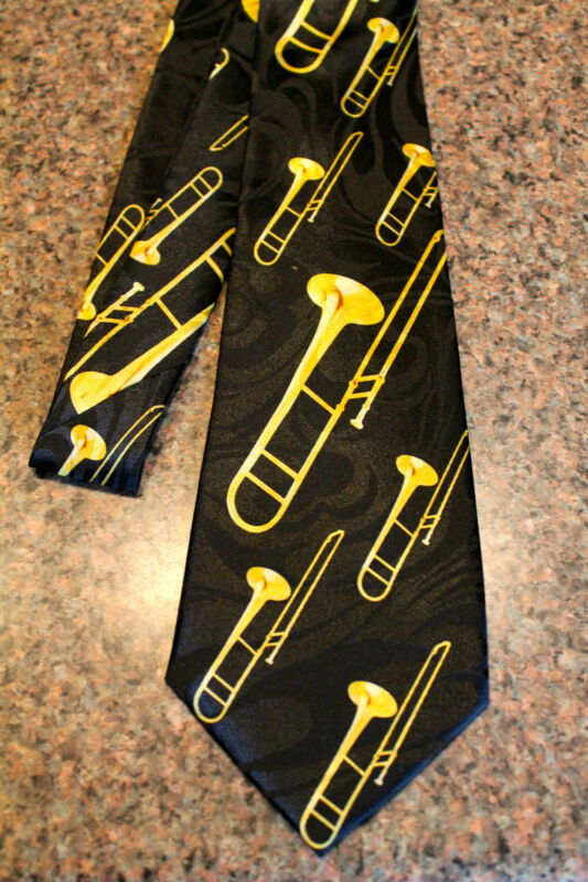 NWT Men's Black Neck Tie With Trombones Music Brass Instrument Trombone #3 • 11.99$