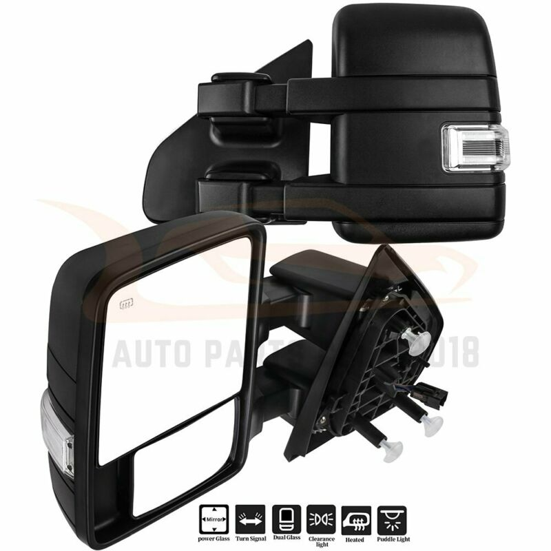 $154.48 • Buy For 2004-2014 Ford F150 Pair Fold Power Signal Puddle Light Heated Tow Mirrors