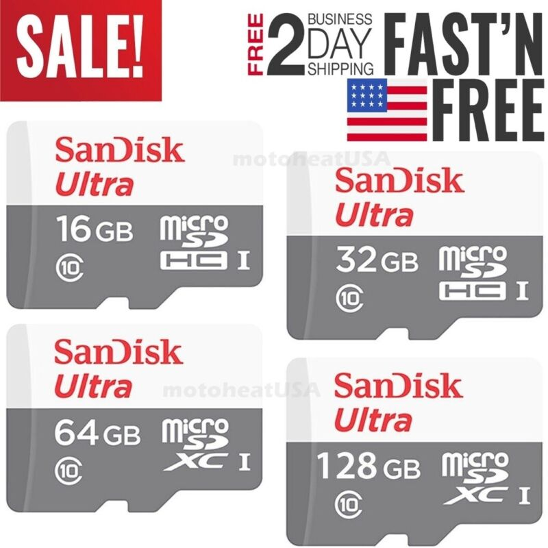 Sandisk 16GB 32GB 64GB 128GB Micro SD Class 10 TF Flash SDHC Memory Card Adapter • 4.85$