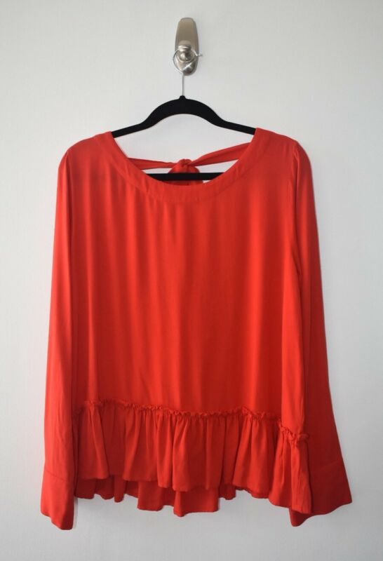 $ CDN40 • Buy NEW! Anthropologie Cloth & Stone Red Ruffle Top Shirt Scoop Tie Back Size M