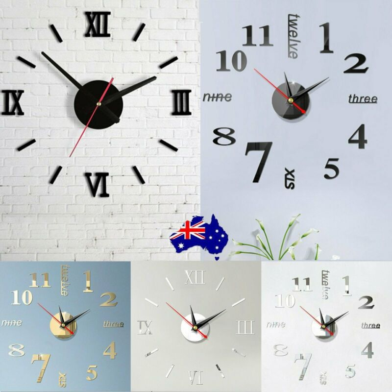 AU10.99 • Buy Large Wall Clock Big Watch Decal 3D Stickers Roman Numerals DIY Wall Modern Home
