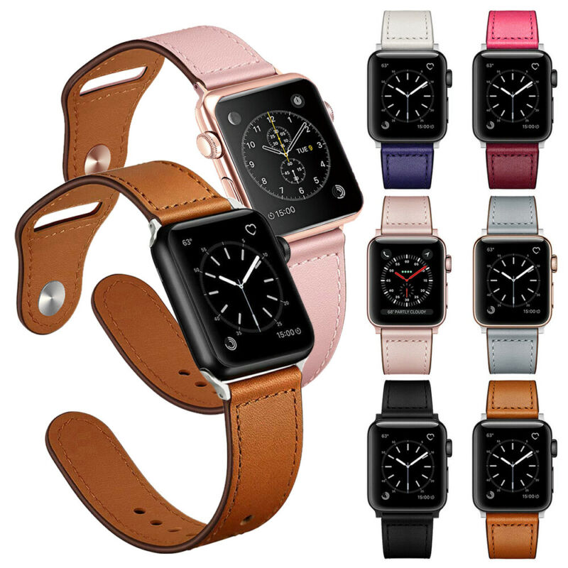 $ CDN5.25 • Buy Genuine Leather Band For Apple Watch Bands Series 5 4 3 2 1 40mm 44mm 38mm 42mm