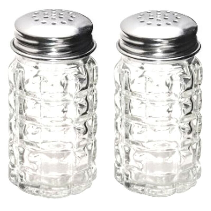 Textured Glass Salt And Pepper Shakers Vintage-Retro Style Set - Aluminum Tops   • 7.75$