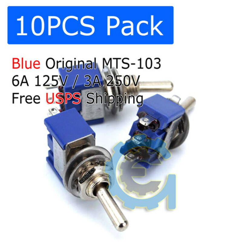 10 PCS MTS-103 Latch Mini Toggle Switch 125VAC 6A ON-OFF-ON 3 Positions SPDT • 4.49$