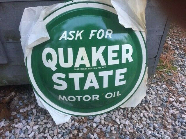 Vintage Quaker State Motor Oil Convex Button Sign 24  > Antique Gas Station 9764 • 495$
