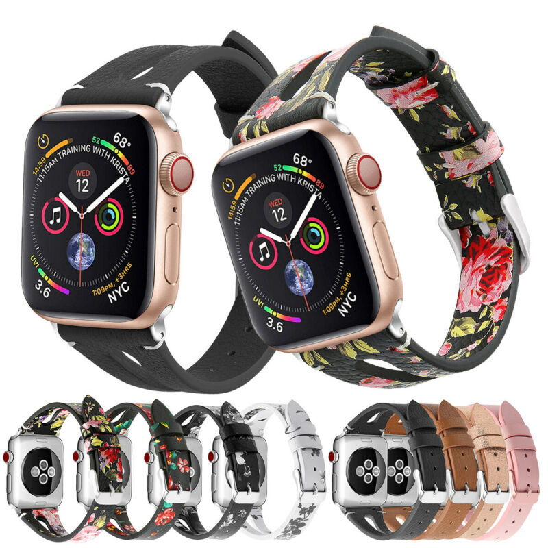 $ CDN7.87 • Buy For Apple Watch Series 5 4 3 2 Leather Watch Bands Wristband Strap 38/40/42/44mm