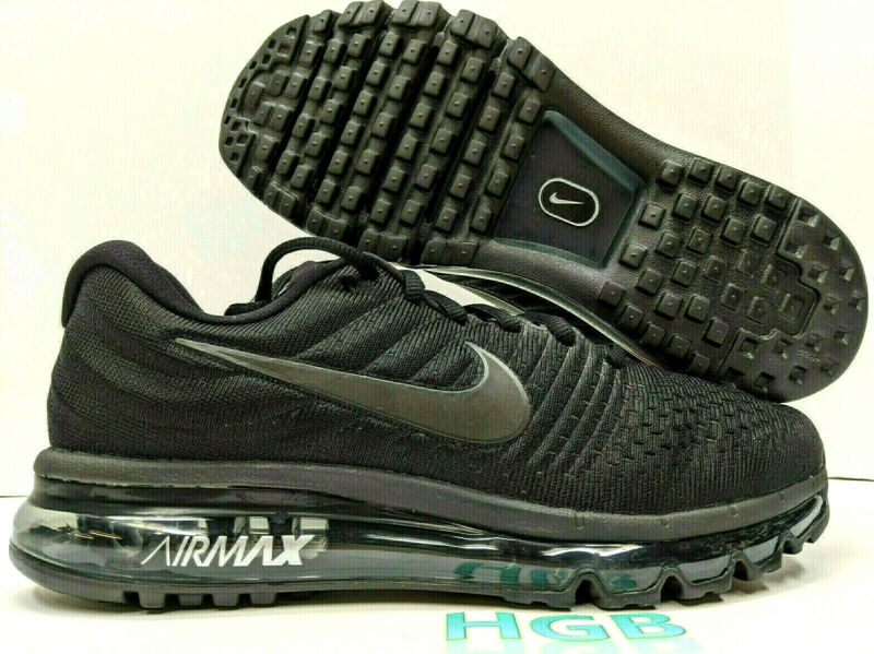 $127.95 • Buy Nike Air Max 2017 Men's Triple Black Running Training Gym Shoes 849559-004 NIB