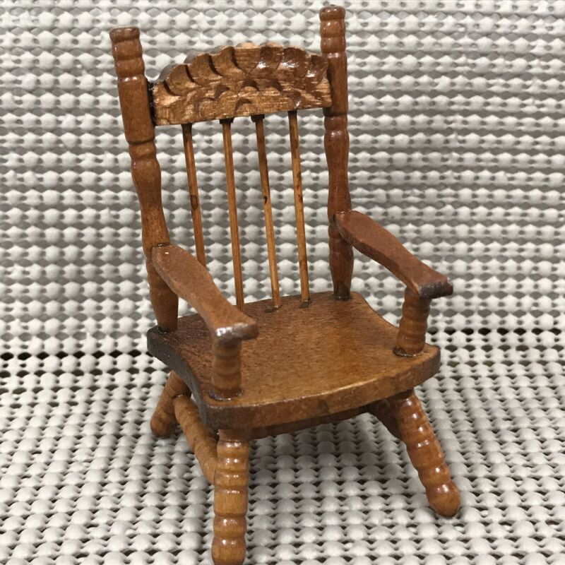 $9.99 • Buy Dollhouse Miniatures Furniture Wooden Spindle Back Side Chair With Armrest Wood