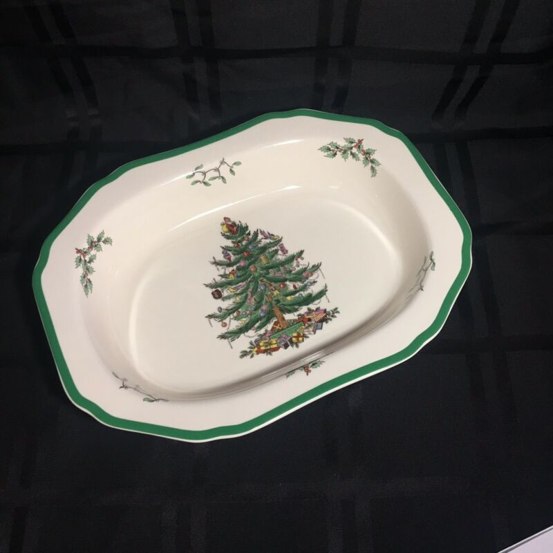 """$24.98 • Buy SPODE CHRISTMAS TREE Oval Scalloped Vegetable Serving Dish 11.5"""" X 8.5 - England"""