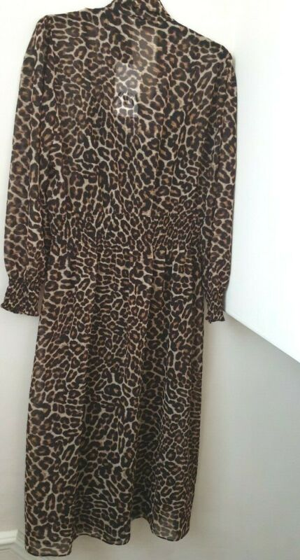 $59.02 • Buy ZARA  Flowing Leopard Animal Print Midi Dress With Pussy Bow  BNWT SIZE XL