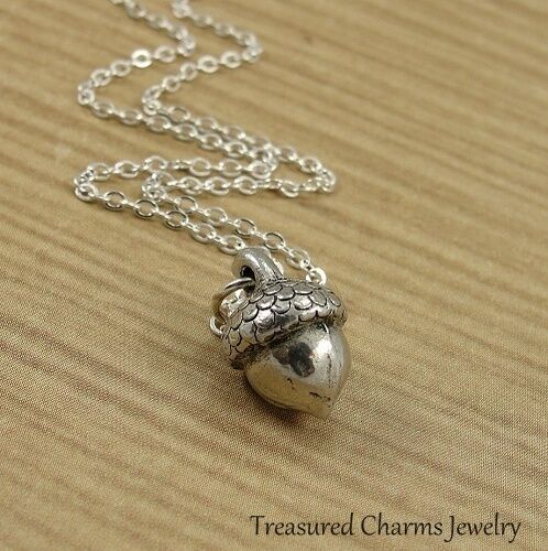 Silver Acorn Necklace - Autumn Fall Nature Nut Charm Pendant NEW • 15.95$