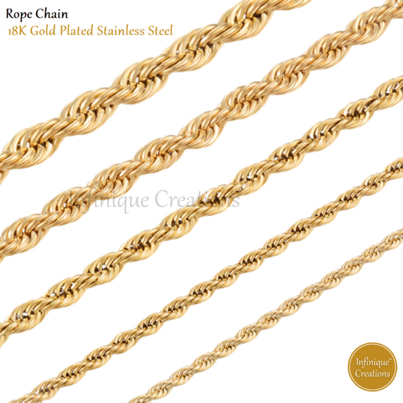 18K Gold Plated Stainless Steel Rope Chain Necklace Bracelet Men Women 2mm-8mm  • 7.99$