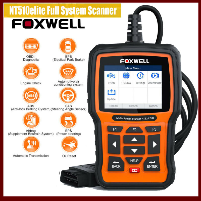 Foxwell NT510 For Honda Acura All System Diagnostic ABS SRS Transmission BMS Oil • 134.10$