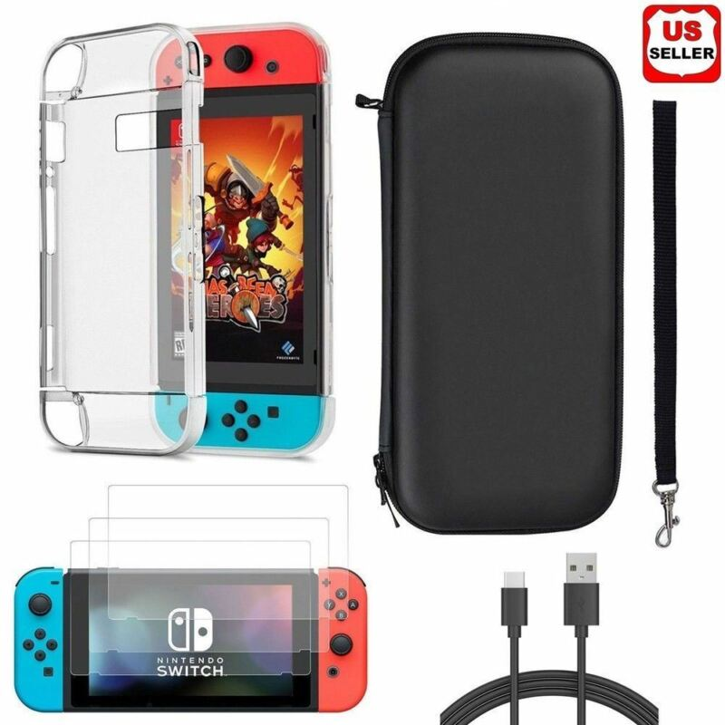 Accessories Case Bag+Shell Cover+Charging Cable+Protector For Nintendo Switch • 13.87$