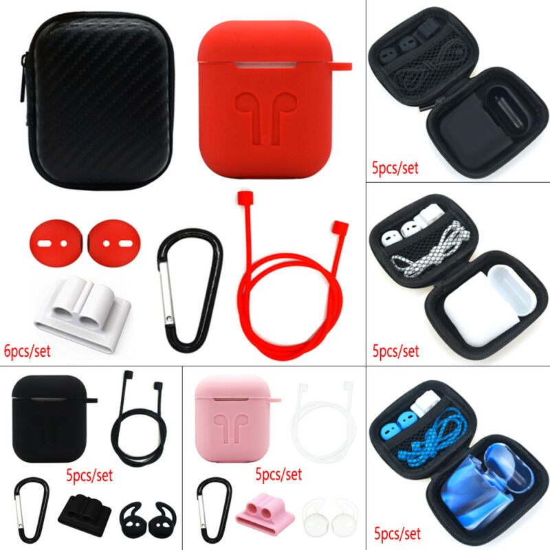 $ CDN4.70 • Buy For Apple AirPods Accessories Silicone Cover Case With Anti Lost Strap Hook Kit