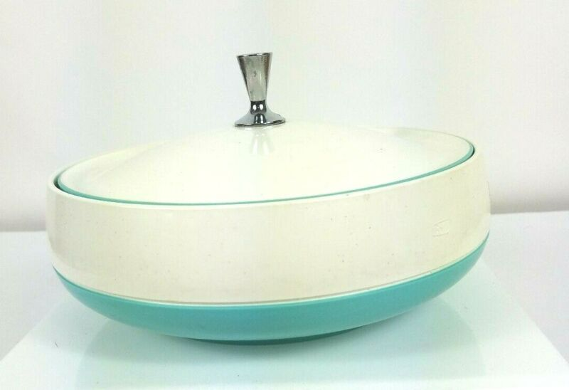 $17.97 • Buy Mid Century Vacron Bopp Decker Plastics White Turquoise Serving Bowl With Lid