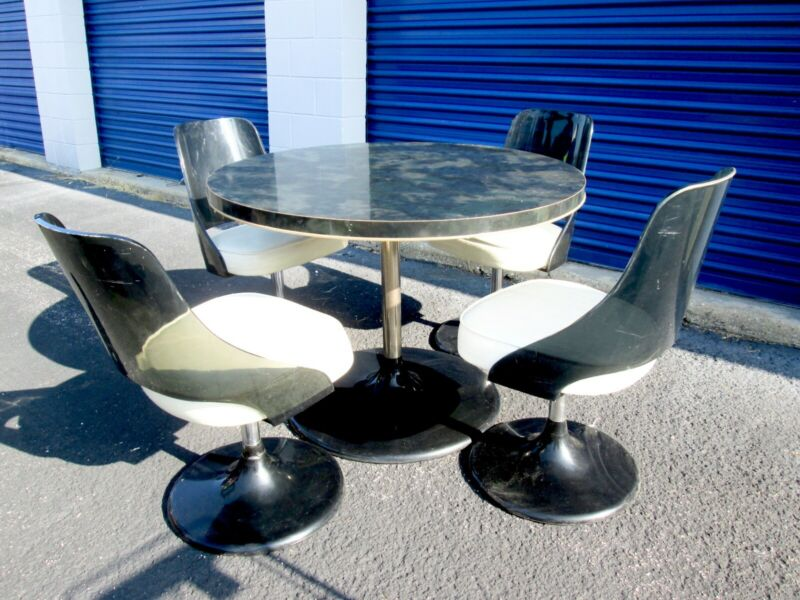 $375 • Buy Vtg Mid Century Modern 5-Pc Smoked Acrylic Space Age Dining Table Chairs Set