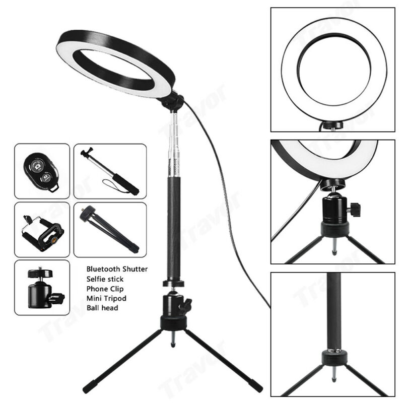 AU24.59 • Buy 6  Dimmable LED Ring Video Light Makeup Studio Photography Lighting Kit + Tripod