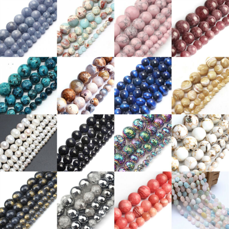 Wholesale Lot Natural Stone Gemstone Round Spacer Loose Beads 4MM 6MM 8MM 10MM • 2.79$