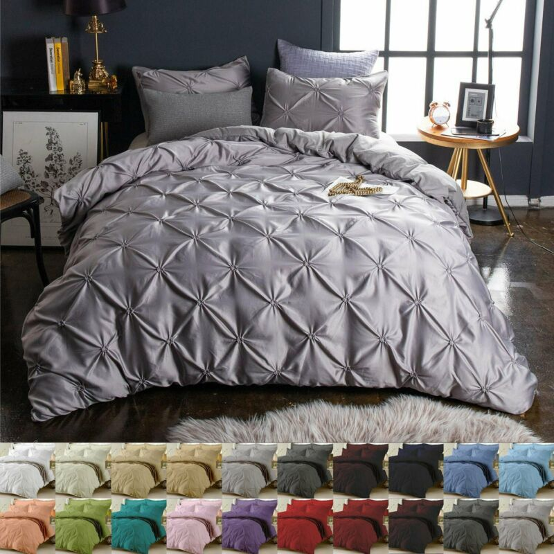 AU32.29 • Buy Diamond Pintuck Duvet/Doona/Quilt Cover Set Single Queen King Size Bed Supersoft
