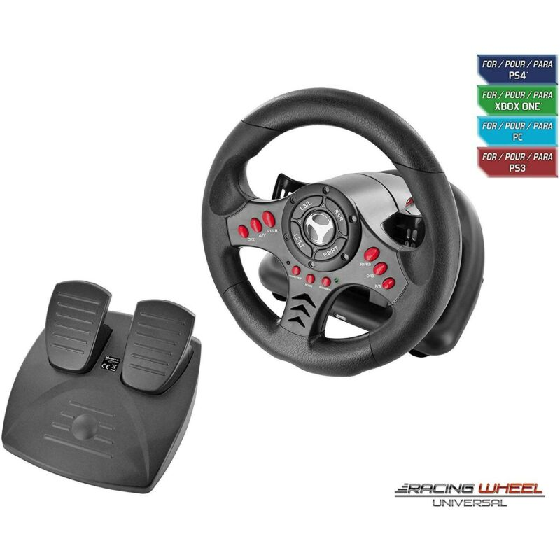 $80.27 • Buy Racing Steering Wheel PC PS4 Slim / Pro PS3 Xbox One S Universal With Pedals NEW