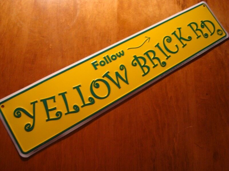 LARGE 2 FOOT FOLLOW YELLOW BRICK ROAD Arrow Street Sign Wizard Of Oz Decor NEW • 9.98$