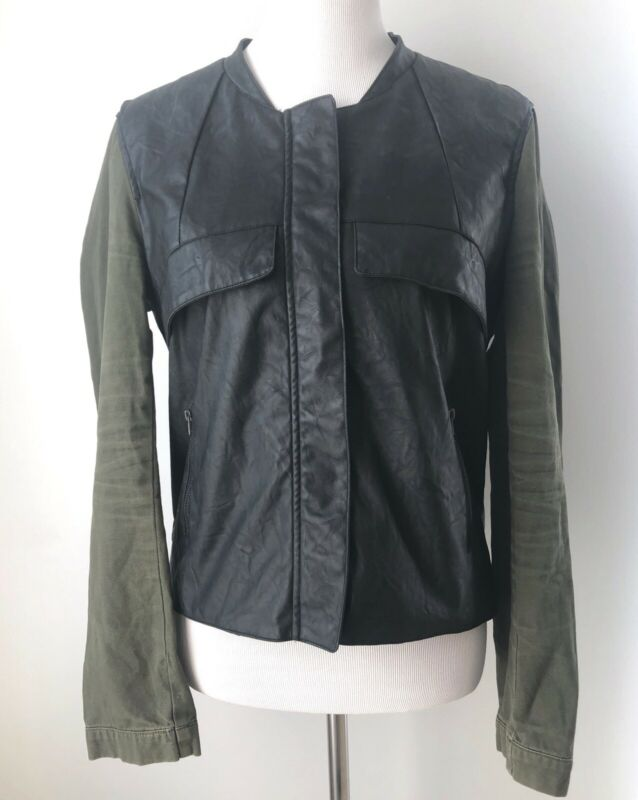 $13.49 • Buy Sans Souci Jacket Sz XL Black Army Green Vegan Faux Leather