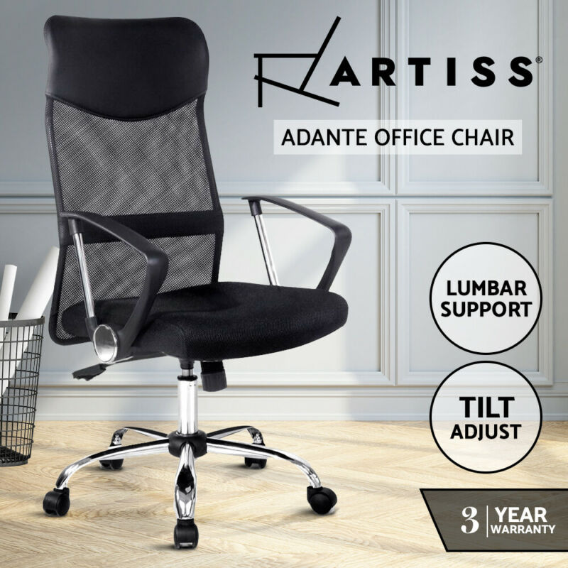 AU79 • Buy Artiss Office Chair Computer PU Leather Mesh Chairs Executive High Back Black
