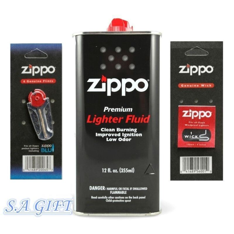 $8.95 • Buy Zippo Lighter 12oz Can Fuel Fluid And Flint & Wick Value Pack Combo Set NEW