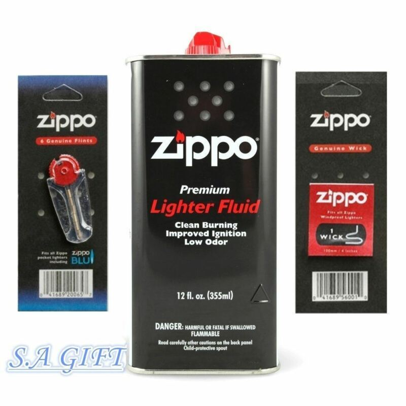 Zippo Lighter 12oz Can Fuel Fluid And Flint & Wick Value Pack Combo Set NEW • 8.95$