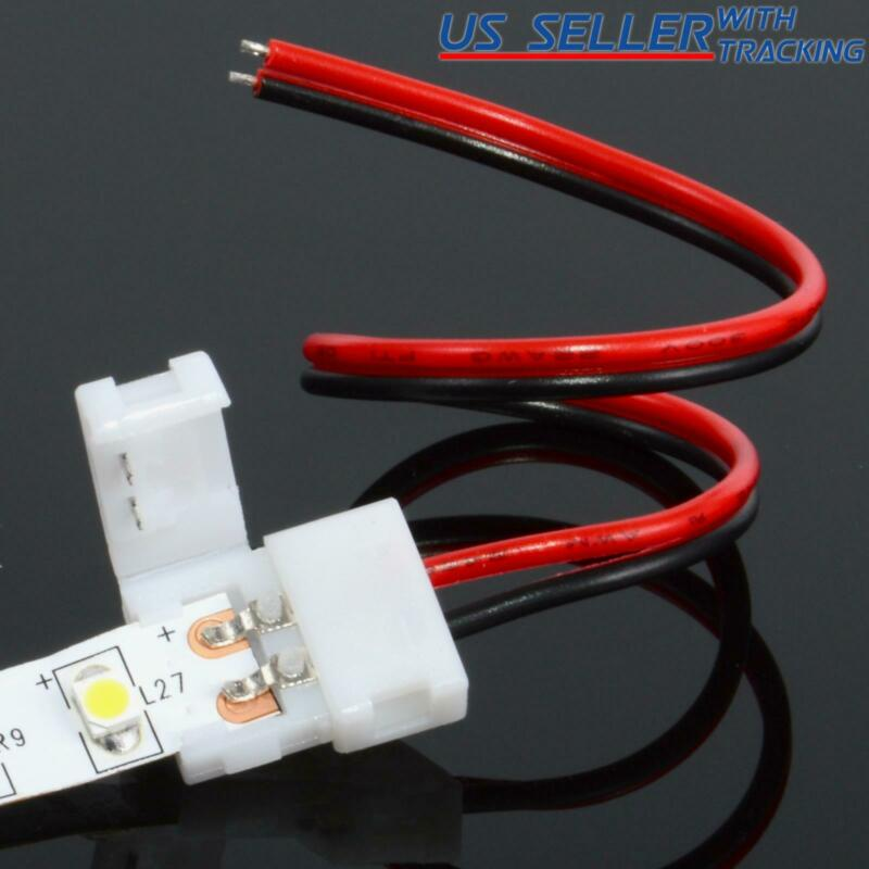 $4.95 • Buy 10-pack 8mm Solderless 2-Wire Connector Clip For 2835 LED Strip Light Power
