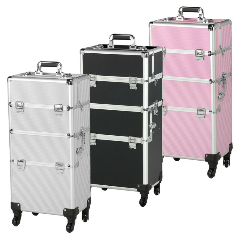 $72.99 • Buy 3 In 1 Aluminum Rolling Makeup Train Case Professional Beauty Cosmetic Trolley