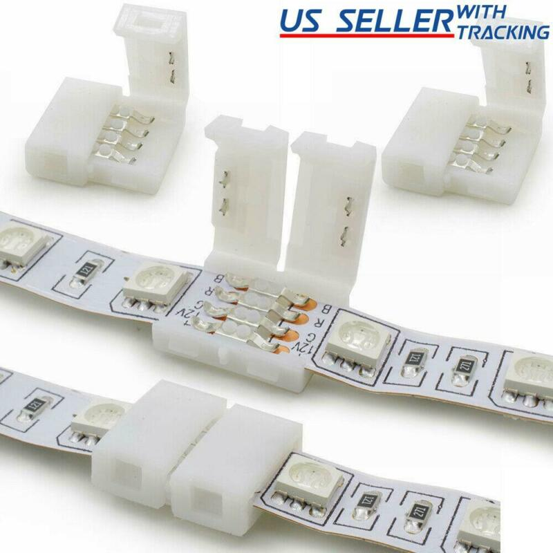 10x 10mm 4-pin Solderless Clip-on Coupler Connector For 5050 RGB LED Strip Light • 4.49$